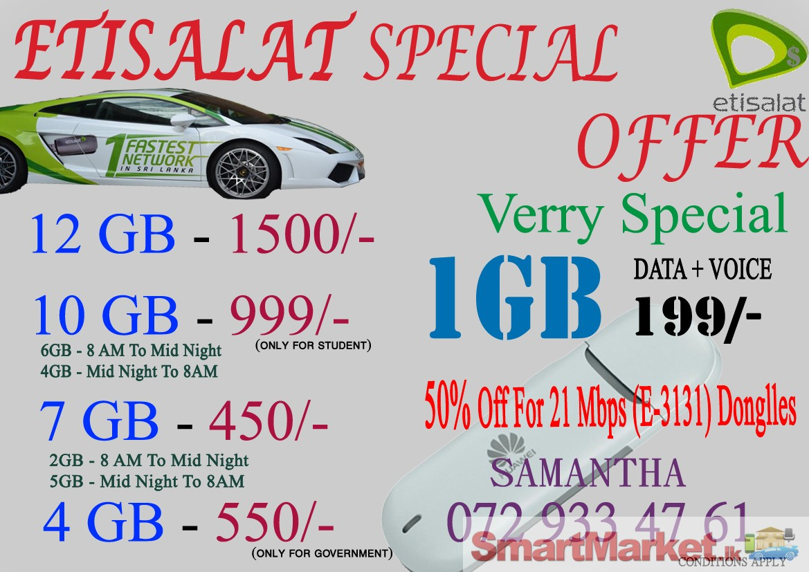 Etisalat Internet Packages For Sale In Colombo