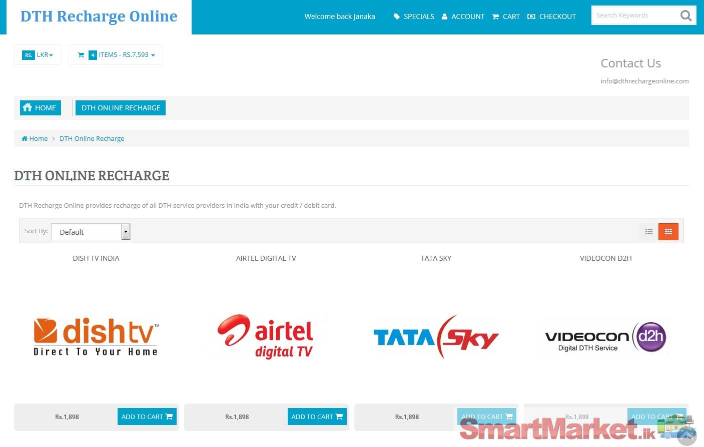 Dish TV | Videocon d2h | Sun Direct Recharge in Sri Lanka