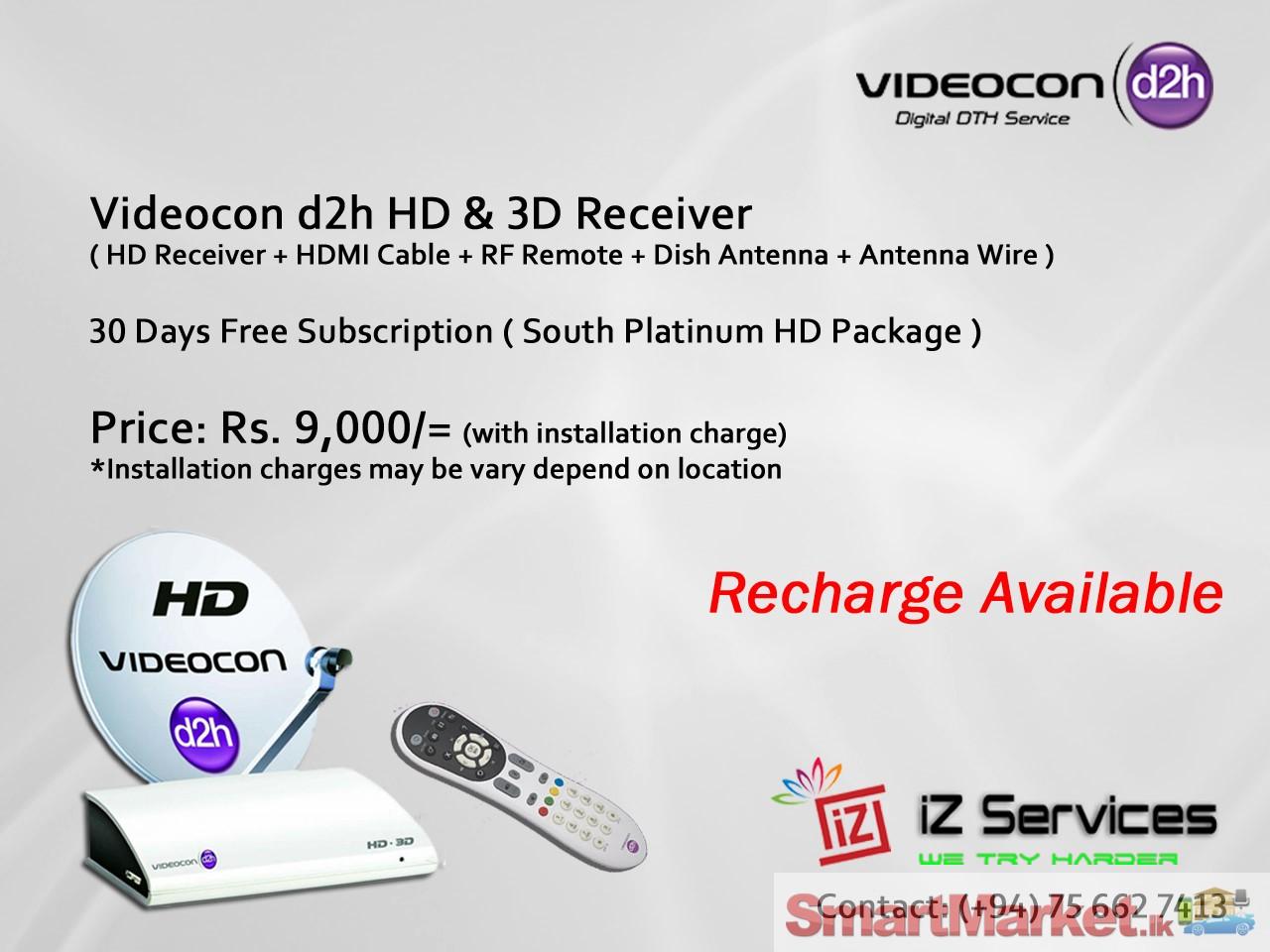 Videocon d2h SD, HD & 3D Receivers