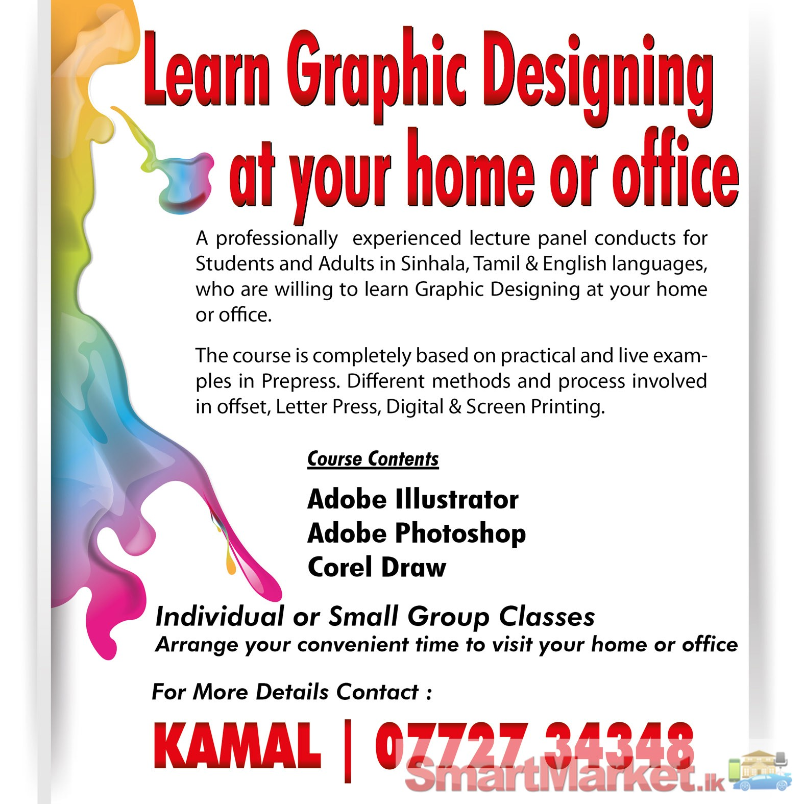Graphic Designing Class Home Visit Offered In Colombo Smartmarket Lk